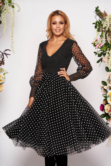 Black occasional midi cloche dress with dots print with v-neckline from tulle and long sleeves