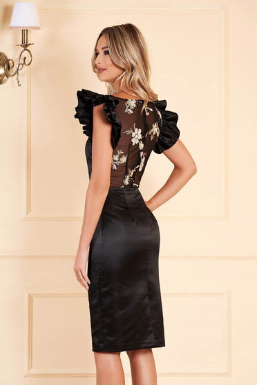 Black dress occasional short cut from satin short sleeves with ruffled sleeves with rounded cleavage