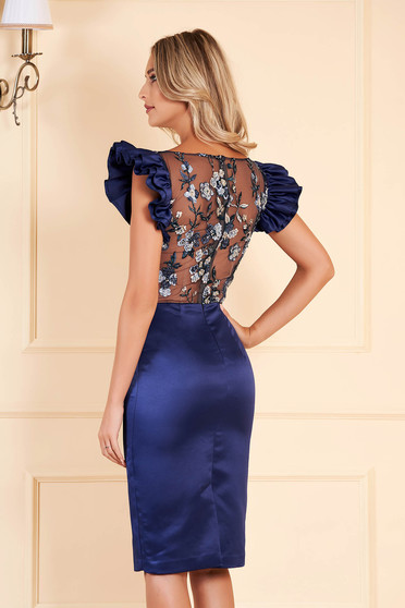 Darkblue dress occasional short cut from satin short sleeves with ruffled sleeves with rounded cleavage