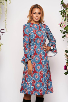 Grey dress elegant midi scuba detachable cord long sleeved with bell sleeve with floral print
