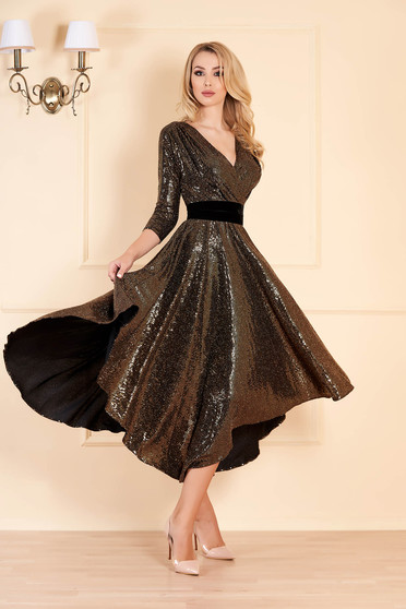 Gold occasional midi cloche dress asymmetrical with elastic waist wrap over front with v-neckline with sequins