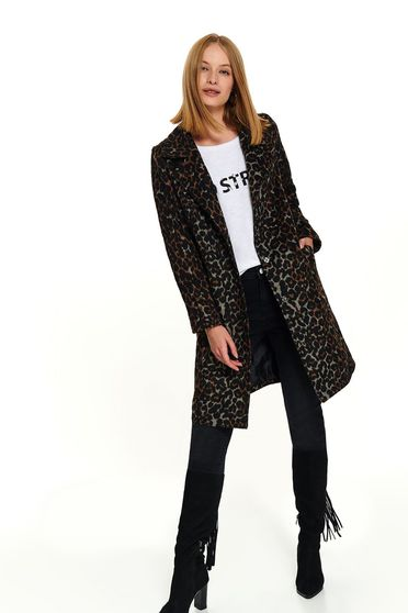 Casual long brown straight coat with pockets and animal print