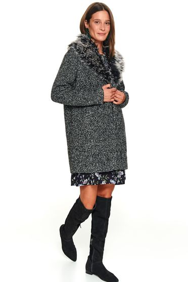 Darkgrey coat flared fur collar with faux fur accessory casual