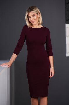 StarShinerS purple dress office midi pencil neckline with 3/4 sleeves from elastic fabric back slit