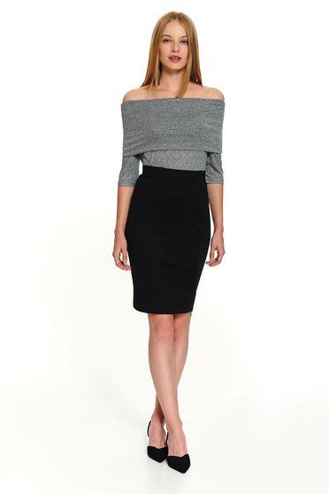 Black skirt office short cut pencil zipper accessory