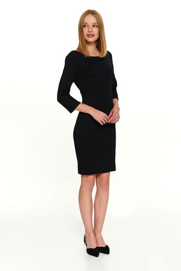 Black dress office short cut with 3/4 sleeves frontal slit back zipper fastening