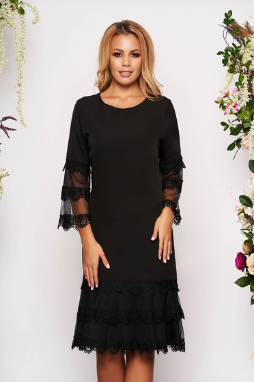 Black dress elegant a-line midi cloth bell sleeves with inside lining with 3/4 sleeves