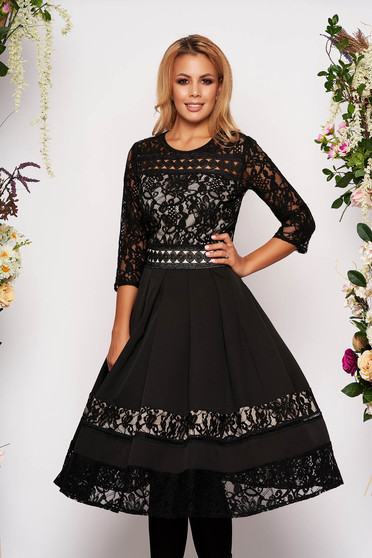 Black dress elegant midi cloche laced with 3/4 sleeves without clothing with rounded cleavage