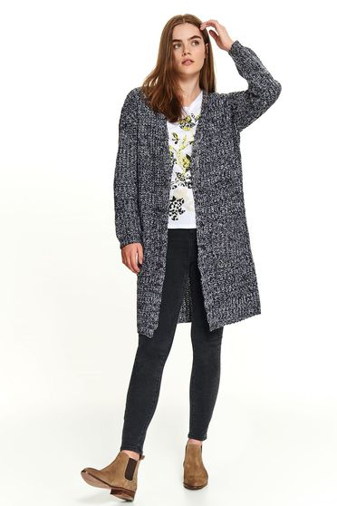 Grey sweater casual cardigan with pockets with no closure flared knitted