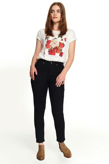 Black trousers casual conical long with pockets eyelets and zipper fastening