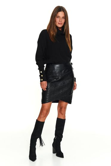 Casual short cut knitted black sweater with turtle neck and button accessories