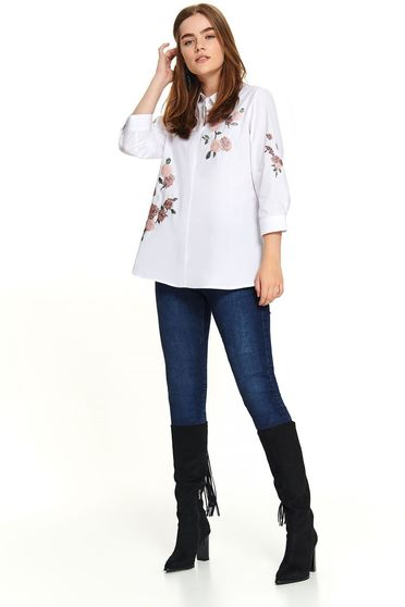 Casual short cut white women`s shirt with 3/4 sleeves with buttons