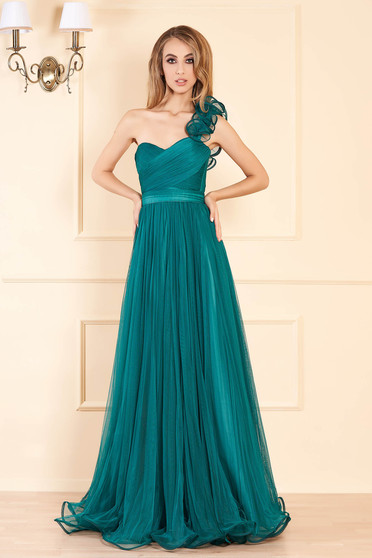 Ana Radu green luxurious long dress from tulle with push-up cups flaring cut corset tipe fastening