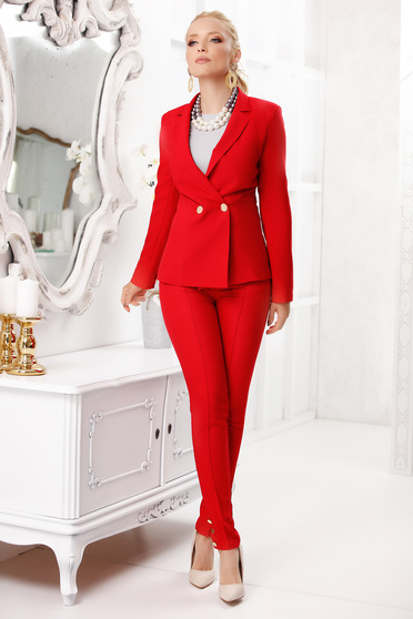 Red trousers elegant long conical with pockets with button accessories cloth thin fabric