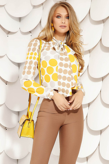 Yellow women`s blouse elegant short cut flared dots print airy fabric long sleeved