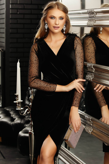 Black occasional short cut velvet pencil dress with wrap over v-neckline and long and transparent sleeves