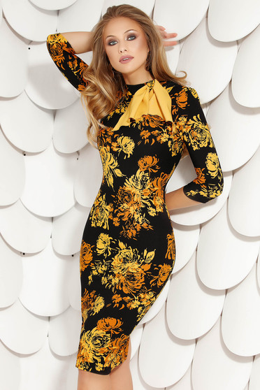 Mustard dress elegant midi pencil cloth with floral print with turtle neck with bow thin fabric