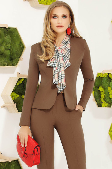 Brown office tented jacket slightly elastic fabric with inside lining with padded shoulders