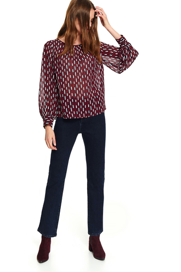 Casual short cut flared peach women`s blouse with long sleeves and geometrical print