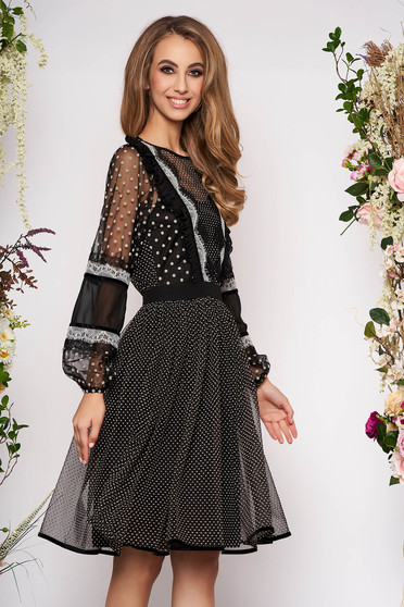 Black dress occasional midi cloche long sleeved with ruffles on the chest from veil fabric dots print elastic held sleeves
