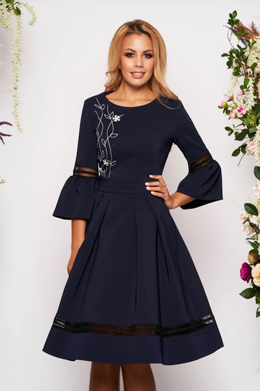 Darkblue dress elegant midi cloche with bell sleeve with 3/4 sleeves with rounded cleavage