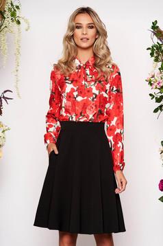 StarShinerS red women`s blouse elegant short cut flared long sleeved airy fabric elastic held sleeves