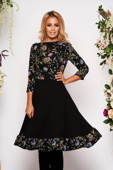 StarShinerS black daily cloche dress with 3/4 sleeves from elastic fabric with floral print