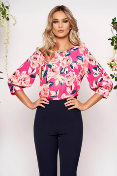 StarShinerS pink women`s blouse office short cut flared from veil fabric with floral print with 3/4 sleeves