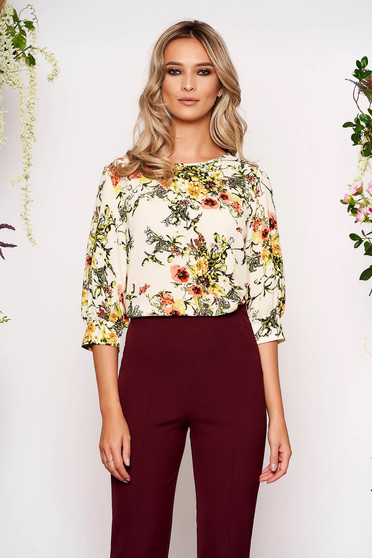 StarShinerS cream women`s blouse office short cut flared from veil fabric with floral print with 3/4 sleeves