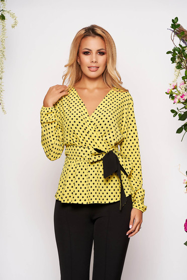 StarShinerS yellow office women`s blouse with easy cut with v-neckline thin fabric with dots print