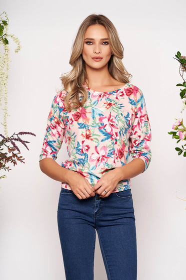 StarShinerS pink casual women`s blouse slightly elastic fabric wrinkled material with floral prints 3/4 sleeve