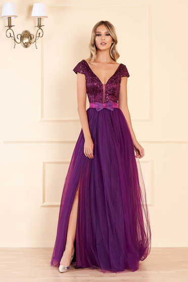 Purple occasional long cloche dress bareback with push-up cups with v-neckline with sequin embellished details