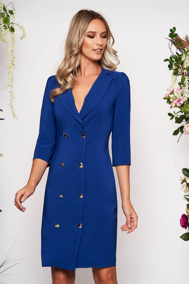 Blue elegant blazer type dress slightly elastic fabric wrap around with button accessories