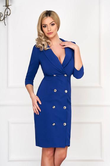 Blue elegant blazer type dress slightly elastic fabric wrap around with button accessories