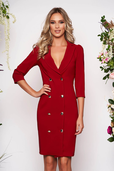 Burgundy elegant blazer type dress slightly elastic fabric wrap around with button accessories