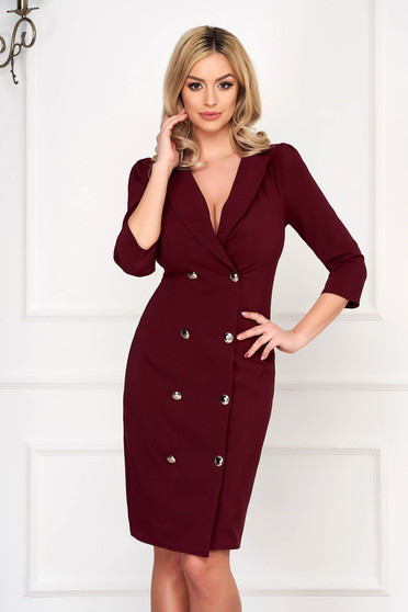 Burgundy elegant blazer type dress slightly elastic fabric wrap around with button accessories