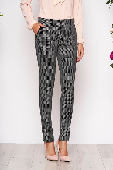 Black trousers elegant conical cloth with front pockets with graphic details button and zipper fastening
