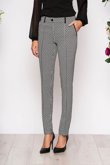 White trousers elegant conical cloth with front pockets with graphic details button and zipper fastening