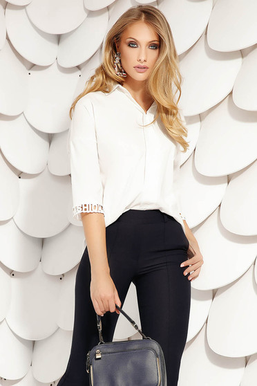 White women`s shirt elegant short cut cotton flared asymmetrical with 3/4 sleeves from elastic fabric