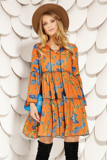 Bricky dress daily short cut flared with floral print with bell sleeve airy fabric long sleeved