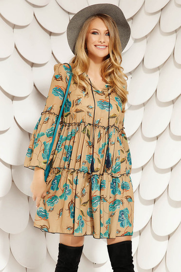 Brown dress daily short cut flared with floral print with bell sleeve airy fabric long sleeved