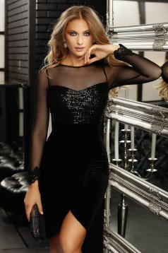 Black dress occasional short cut pencil velvet with sequins long sleeved with veil sleeves wrap over skirt