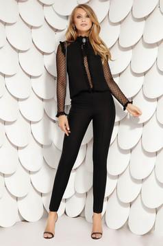Black trousers elegant medium waist accessorized with belt straight