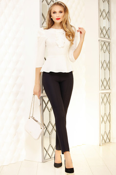 Black trousers elegant medium waist accessorized with belt straight