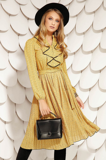 Mustard dress elegant midi cloche from veil fabric detachable cord with elastic waist folded up with ruffles on the chest