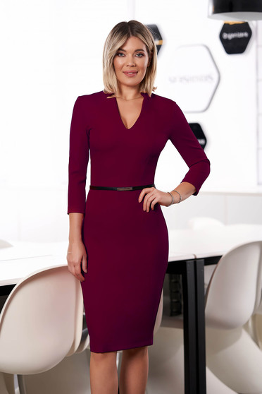 StarShinerS burgundy dress office midi pencil cloth from elastic fabric with v-neckline with 3/4 sleeves