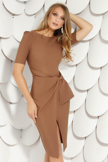 Brown elegant midi pencil dress cloth from elastic fabric short sleeves wrap over skirt