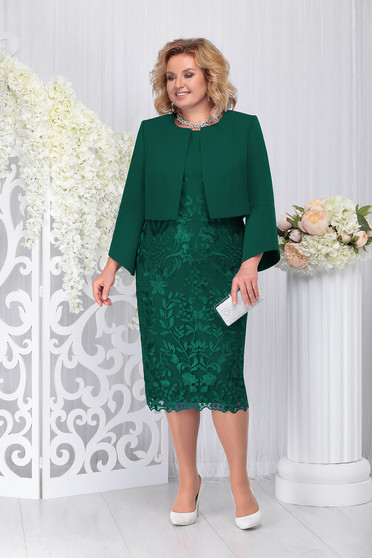 Darkgreen elegant 2 pieces lady set slightly elastic fabric from laced fabric