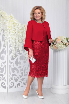 Red elegant 2 pieces lady set slightly elastic fabric from laced fabric