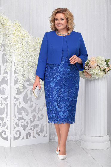 Blue elegant 2 pieces lady set slightly elastic laced fabric